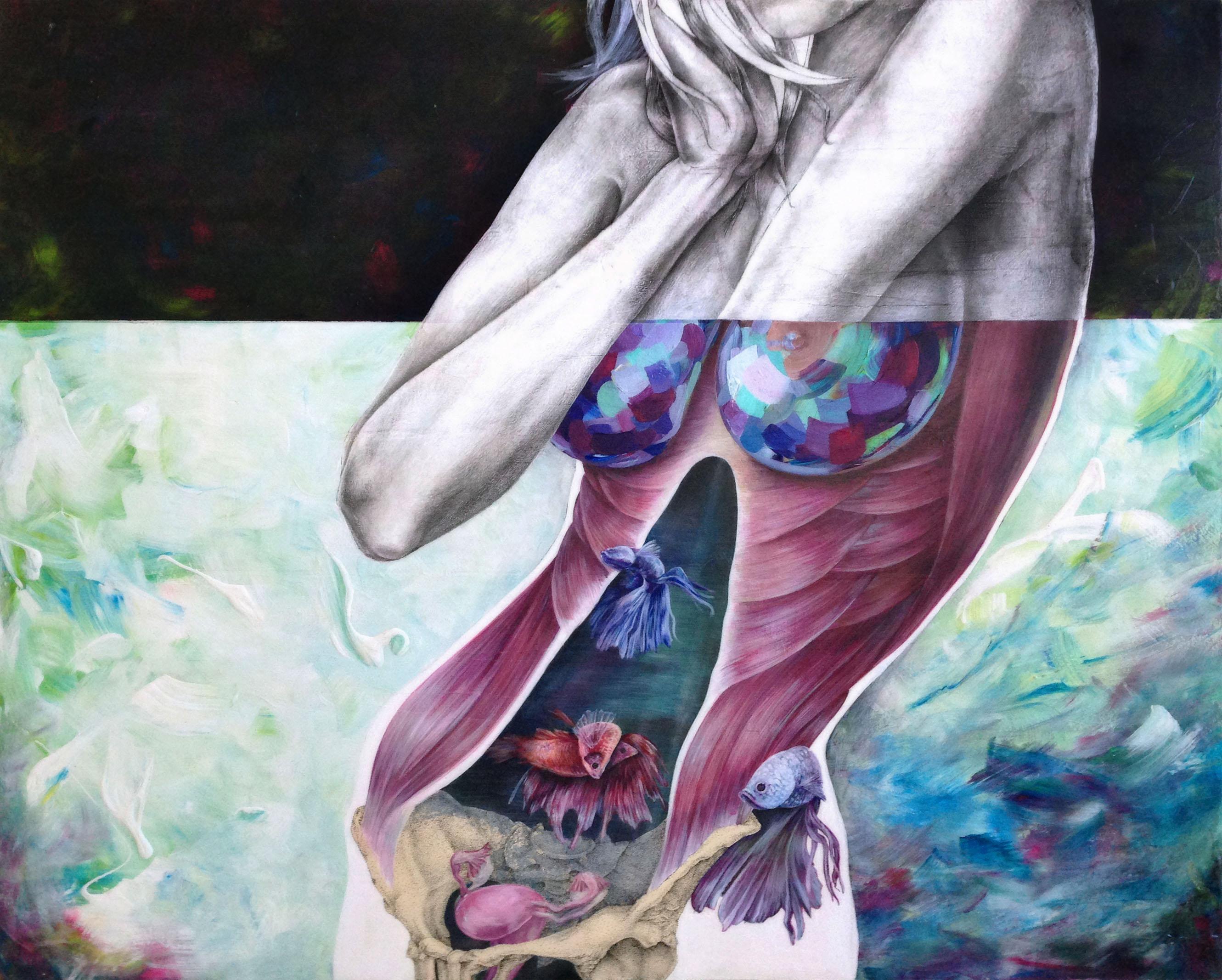 obra de arte cuerpo mujer con musculos creada por giselle vitali
