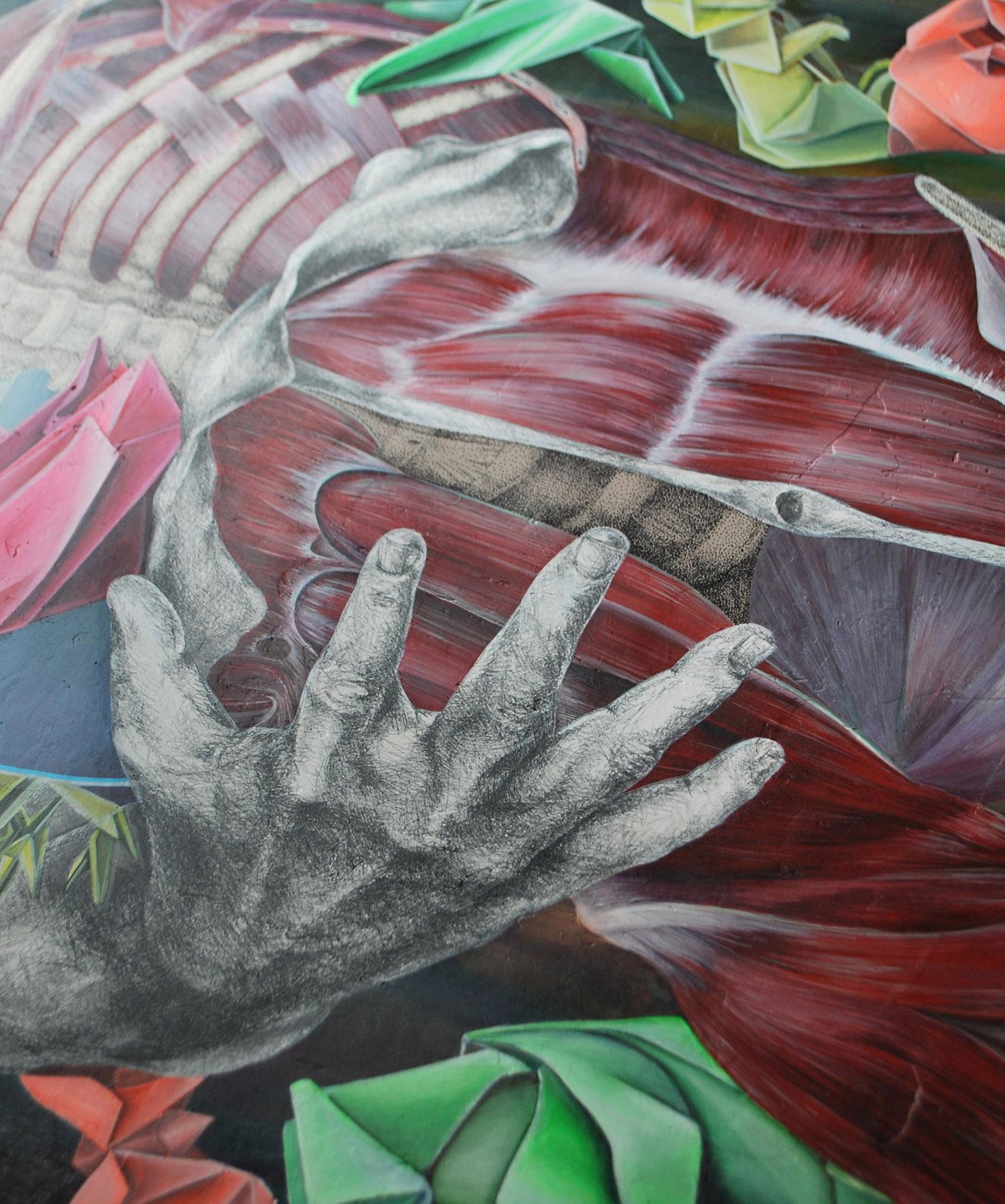 obra de arte con musculos creada por giselle vitali