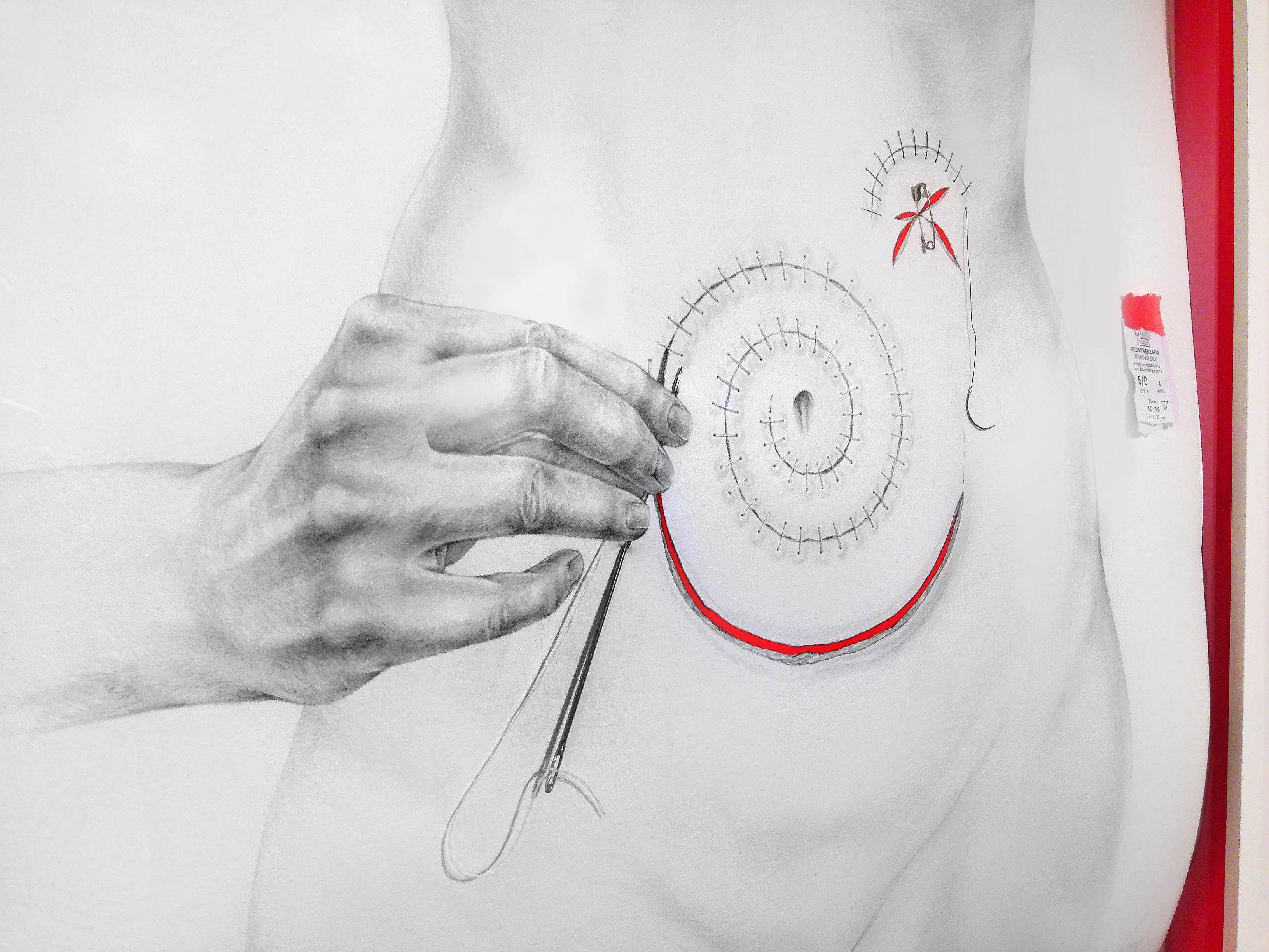 obra de arte cuerpo de mujer hecha con grafito por giselle vitali
