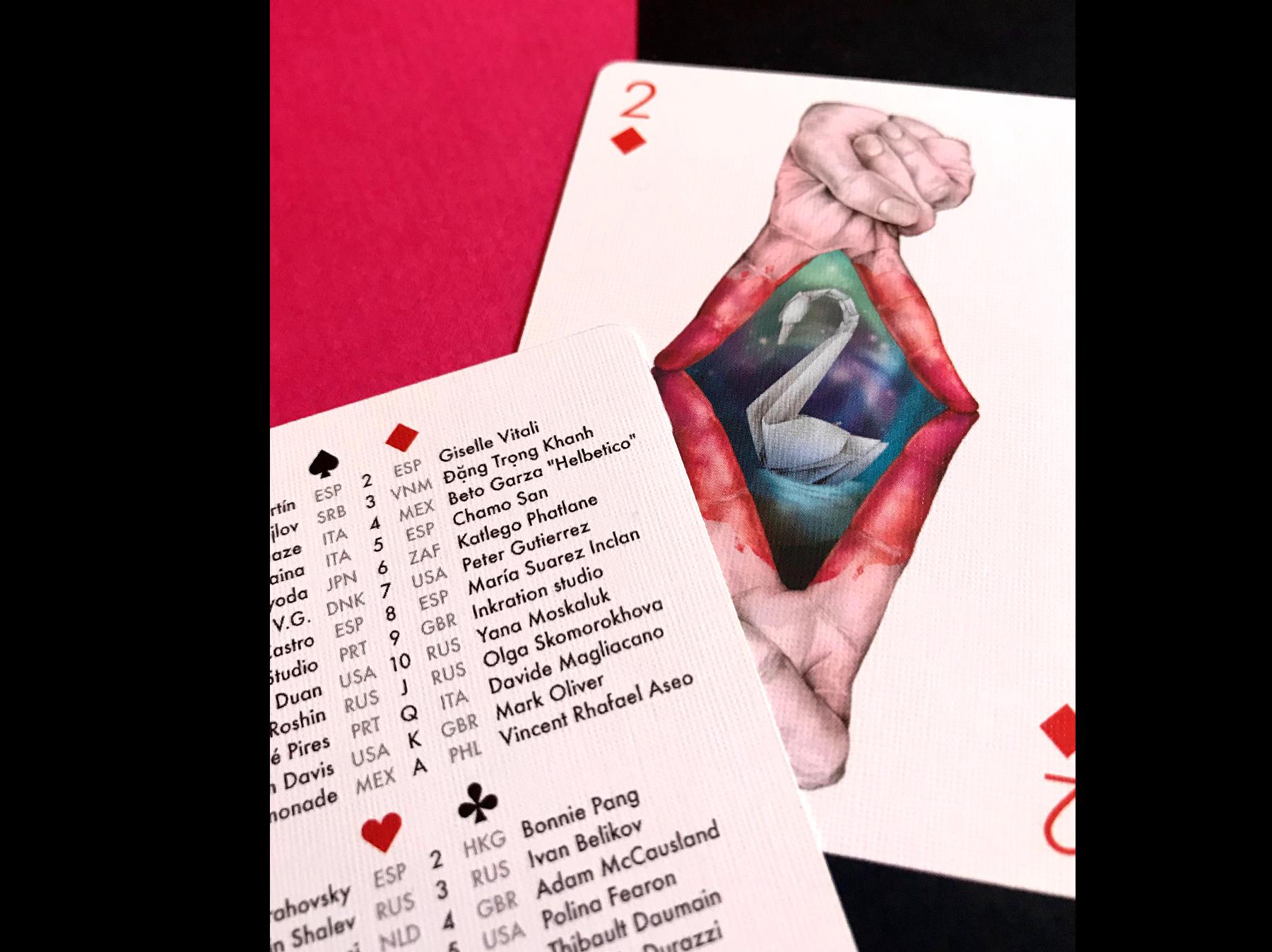 carta de poker 2 de diamante ganadora para concurso de ilustracion playing arts edicion especial