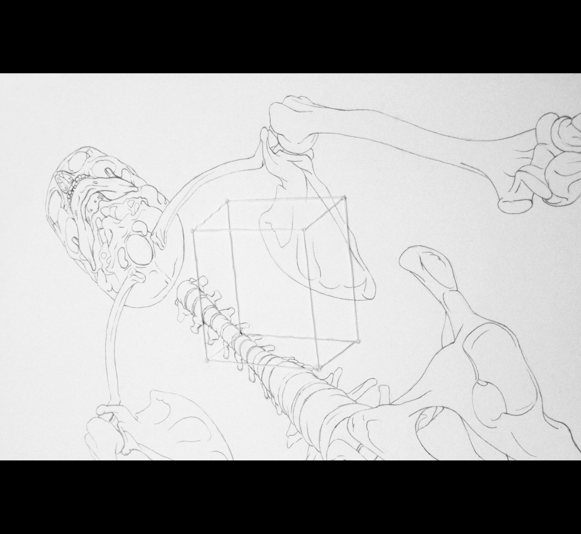 obra de arte con lapiz de grafito e hilo cosido a mano hecha por giselle vitali