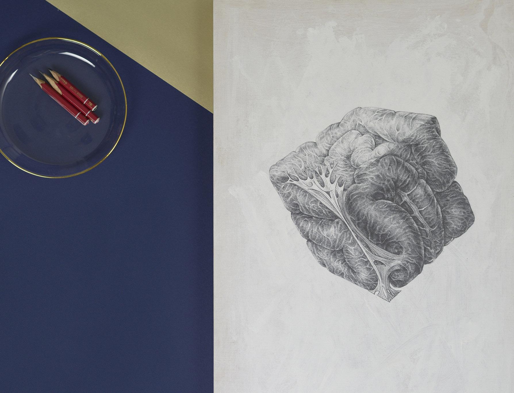 cubo obra de arte hecha con lapiz de grafito por giselle vitali
