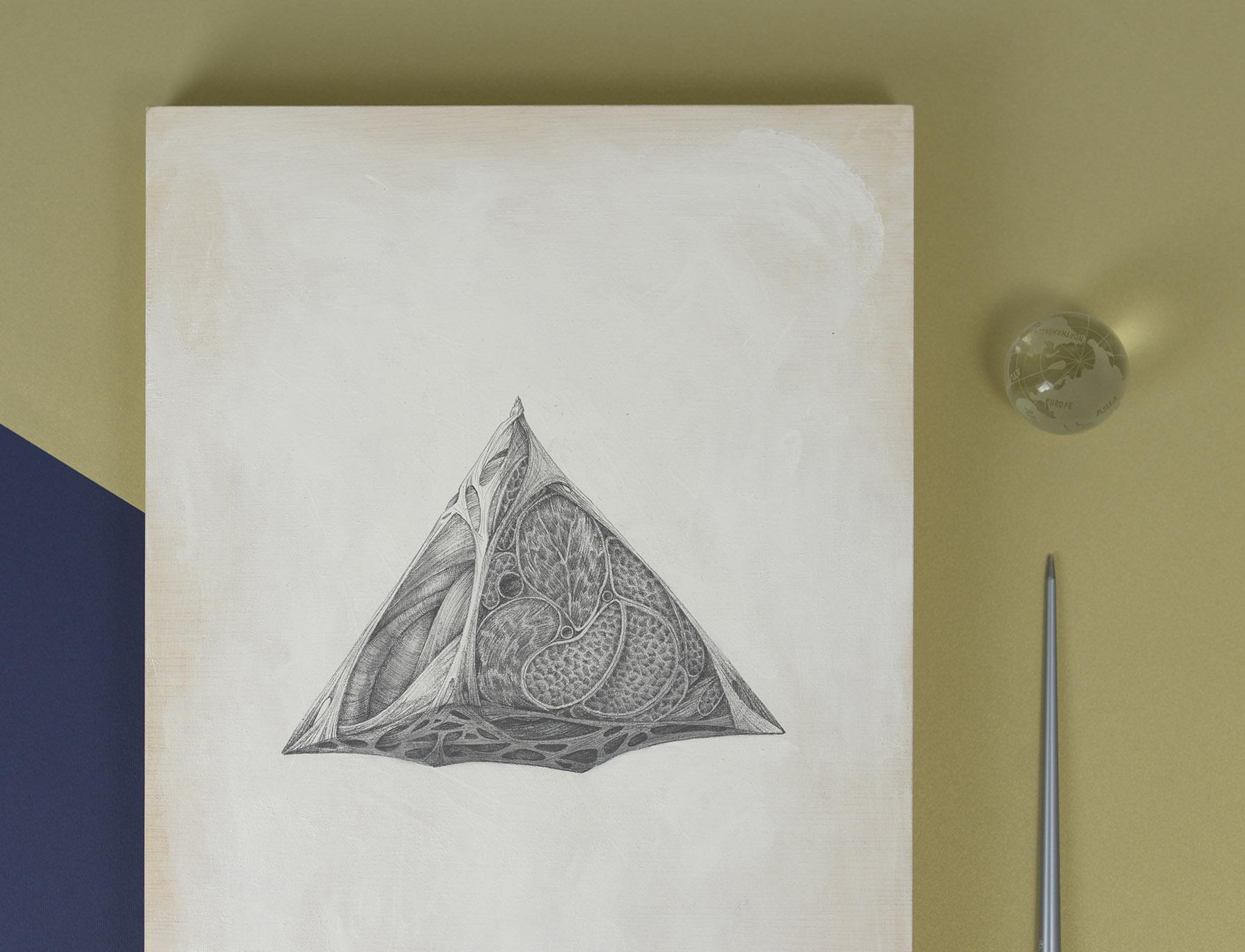 piramide obra de arte hecha con lapiz de grafito por giselle vitali