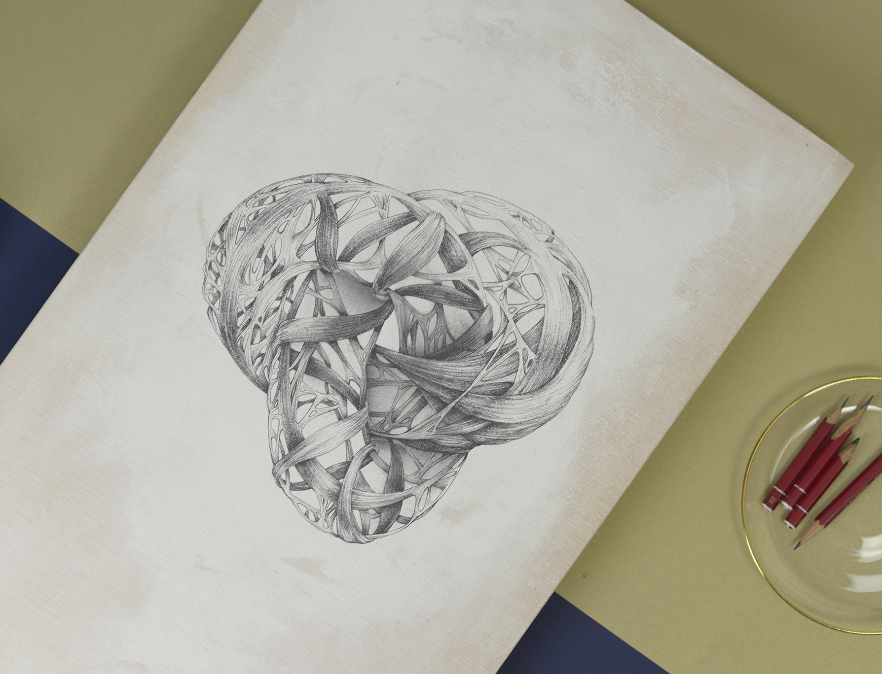 figura 3d obra de arte hecha con lapiz de grafito por giselle vitali
