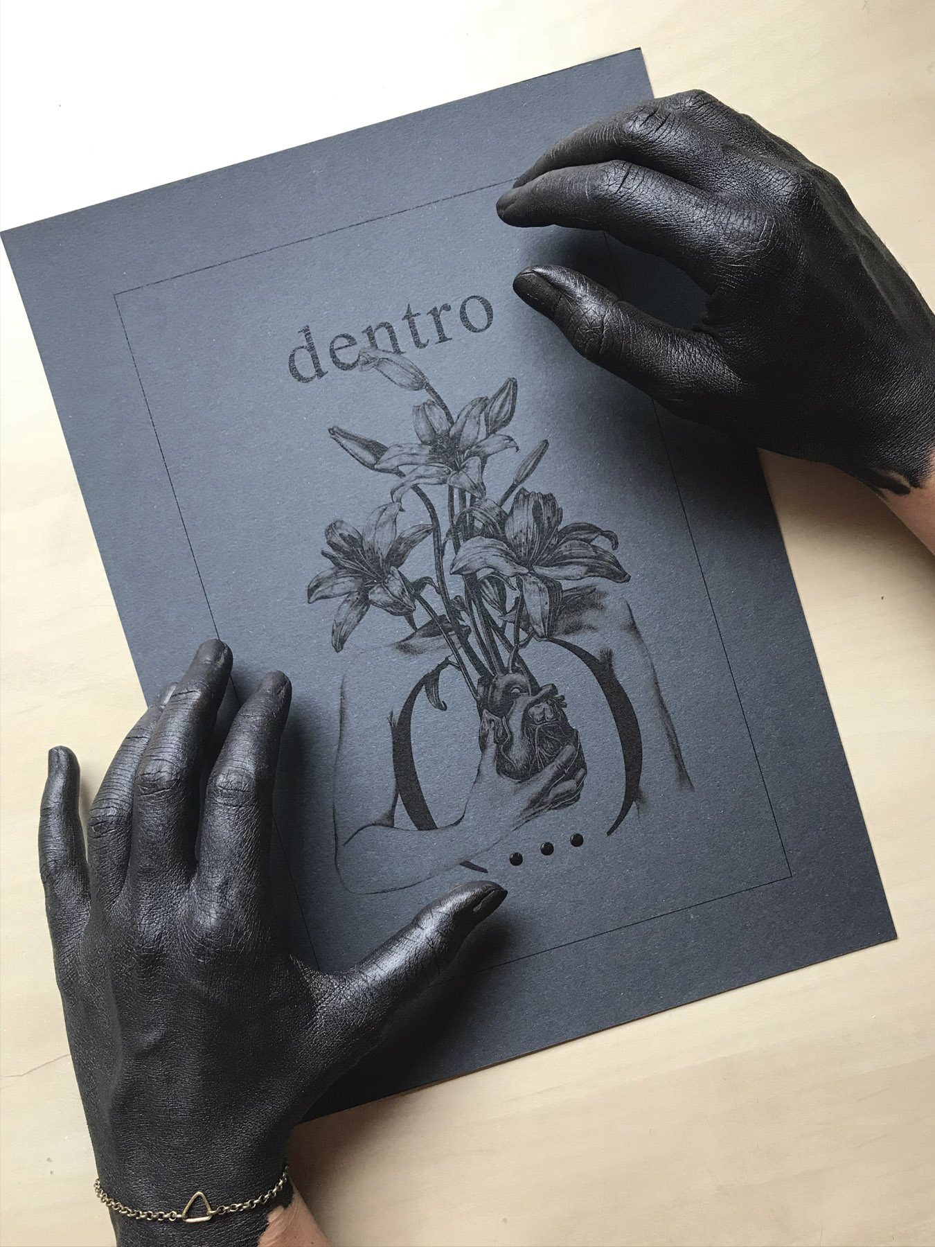 Ilustracion negra poetica y conceptual hecha por giselle vitali