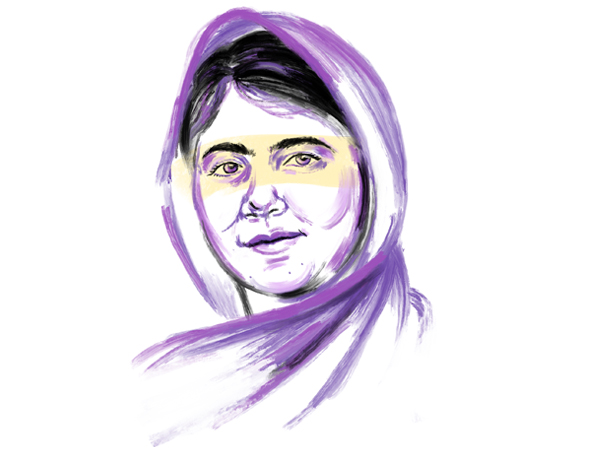 ilustracion para ponles cara Malala Yousafzai por giselle vitali